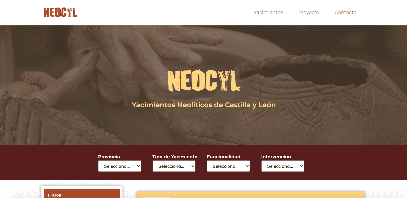 Diseño Web Neocyl - Cerámica del Neolítico de Castilla y León
